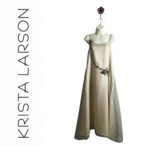 Krista Larson Floral Vine Sage Silk Layered Dress